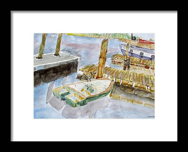 Boats Framed Print featuring the painting Boats At Noon by Barbara Pearston