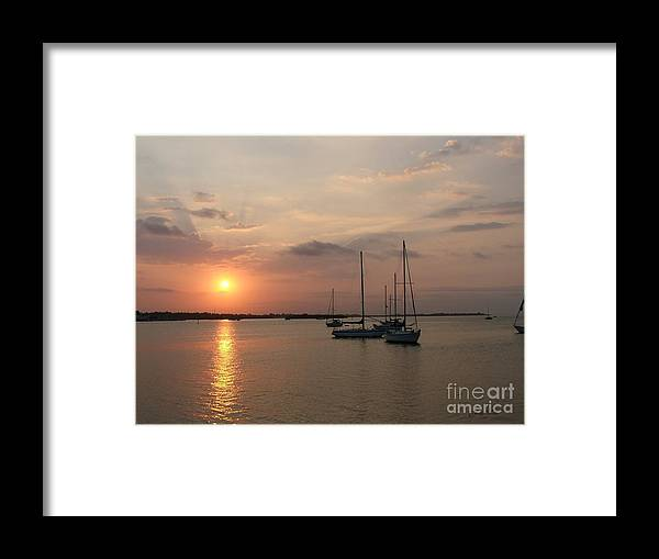 Sunrise Framed Print featuring the photograph Boats At Sunrise by Judy Waller