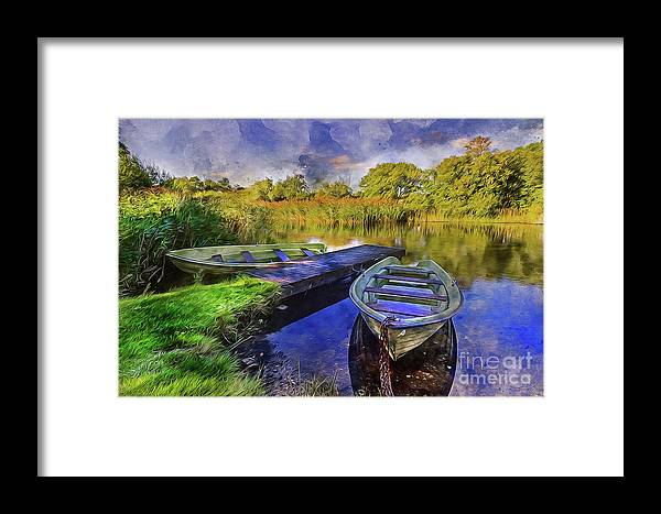Boat Framed Print featuring the mixed media Boats At The Lake by Ian Mitchell