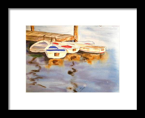 Boats Framed Print featuring the painting Boats by Diane Ziemski