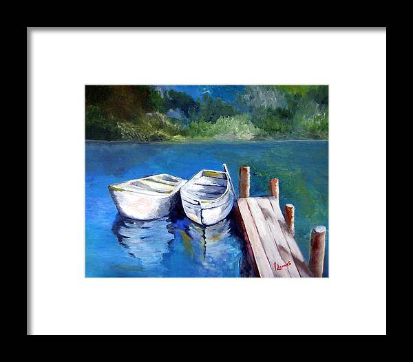 Landscape Framed Print featuring the painting Boats Docked by Julie Lamons