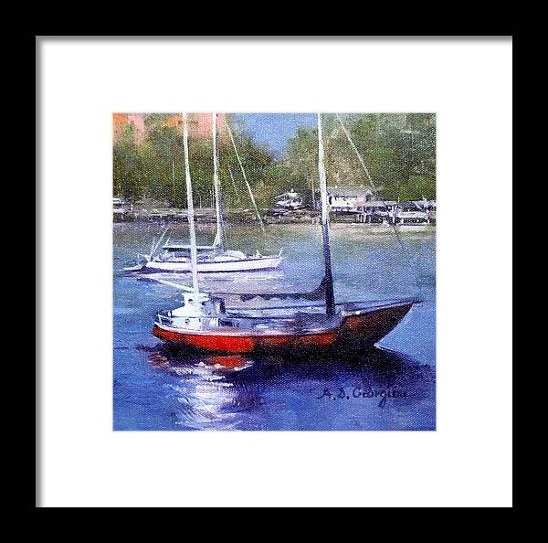 Framed Print featuring the painting boats in Brisbane river by Andriane Georgiou
