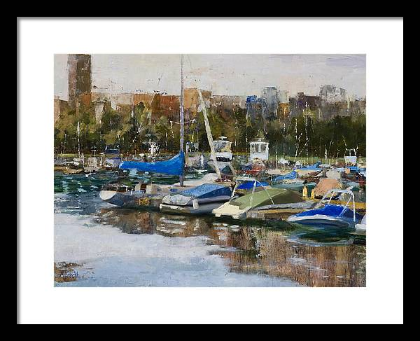 Cityscape Framed Print featuring the painting Boats in Montrose Harbor by Nancy Albrecht