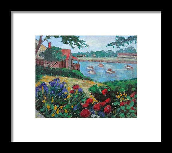 Ogunquit Framed Print featuring the painting Boats in Ogunquit by Marilene Sawaf