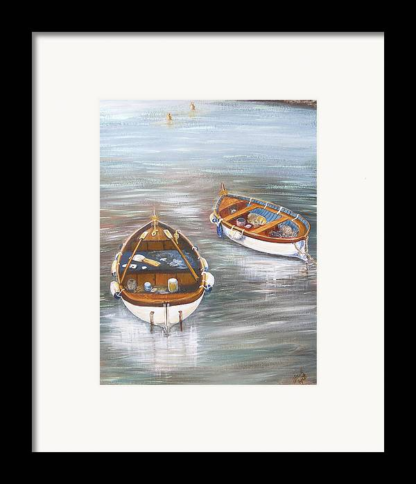 Boats Framed Print featuring the painting Boats by Jan Lowe