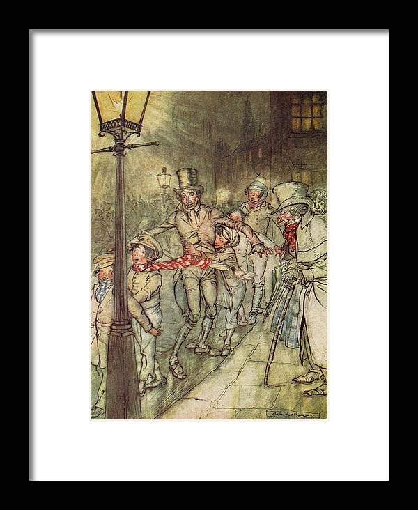 Bob Cratchit Framed Print featuring the drawing Bob Cratchit Went Down A Slide On Cornhill by Arthur Rackham