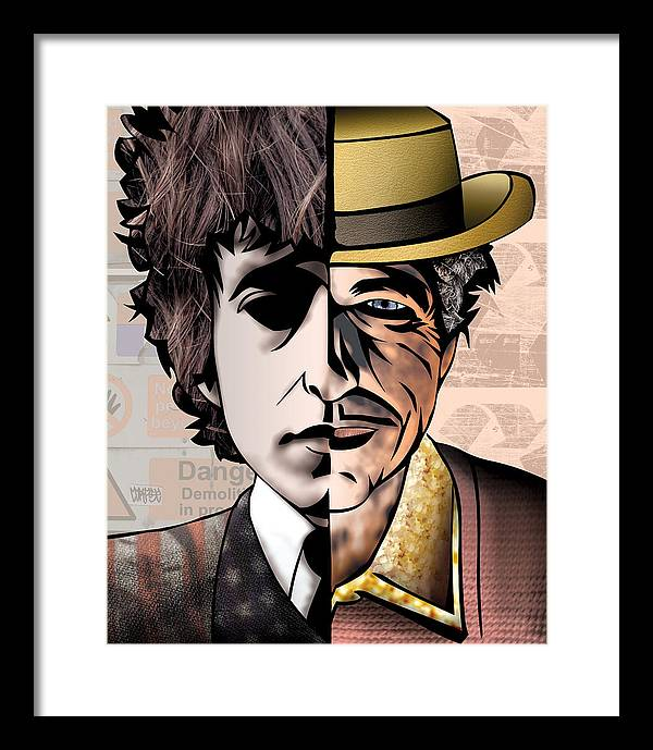 Fine Art America Framed Print featuring the digital art Bob Dylan - Man vs. Myth by Sam Kirk