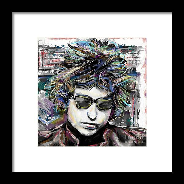 Bob Dylan Framed Print featuring the mixed media Bob Dylan Art by Ryan Rock Artist