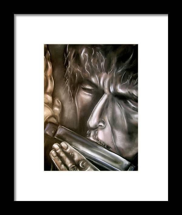 Bob Framed Print featuring the drawing Bob Dylan by Zach Zwagil