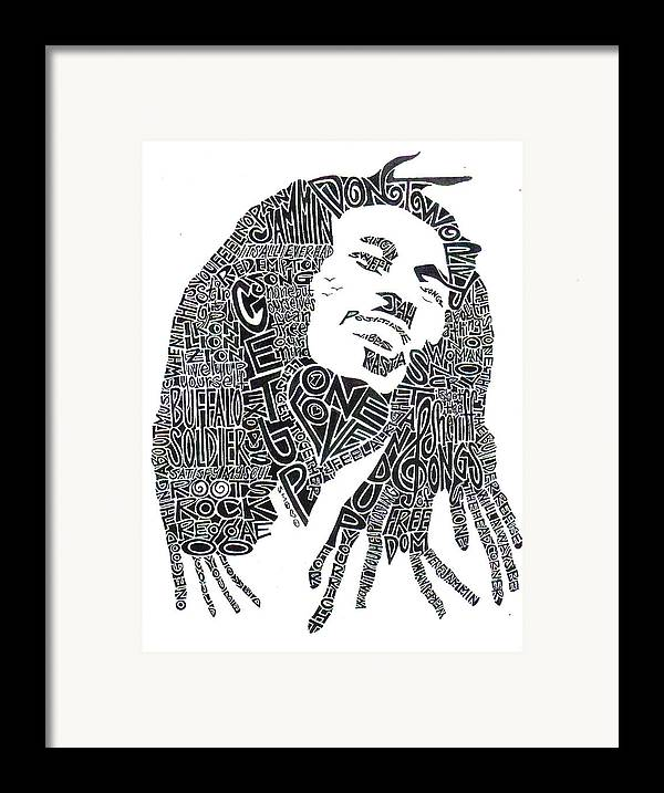 Bob Marley Framed Print featuring the drawing Bob Marley Black And White Word Portrait by Kato Smock