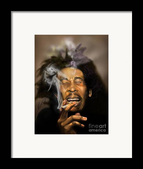Bob Marley Framed Print featuring the painting Bob Marley-burning Lights 3 by Reggie Duffie