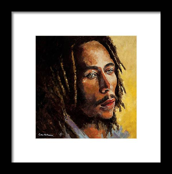 Bob Marley Framed Print featuring the painting Bob Marley by Chris Mc Morrow