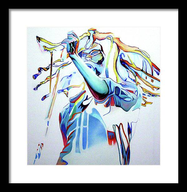 Bob Marley Framed Print featuring the painting Bob Marley Colorful by Joshua Morton