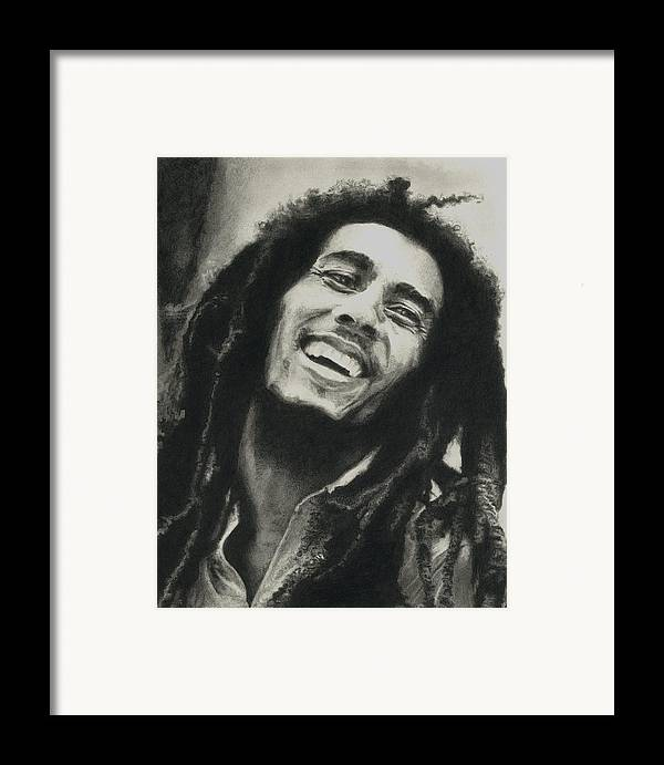 Drawing Framed Print featuring the drawing Bob Marley by Dan Lamperd