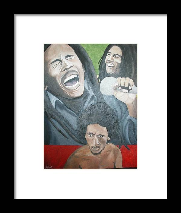 Portrait Framed Print featuring the painting Bob Marley Montage by Angelo Thomas