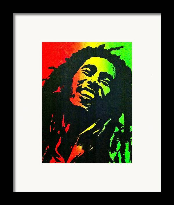 Bob Marley Framed Print featuring the painting Bob Marley Smile by Siobhan Bevans
