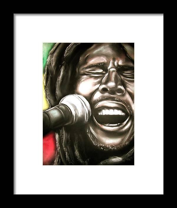 Bob Framed Print featuring the drawing Bob Marley by Zach Zwagil