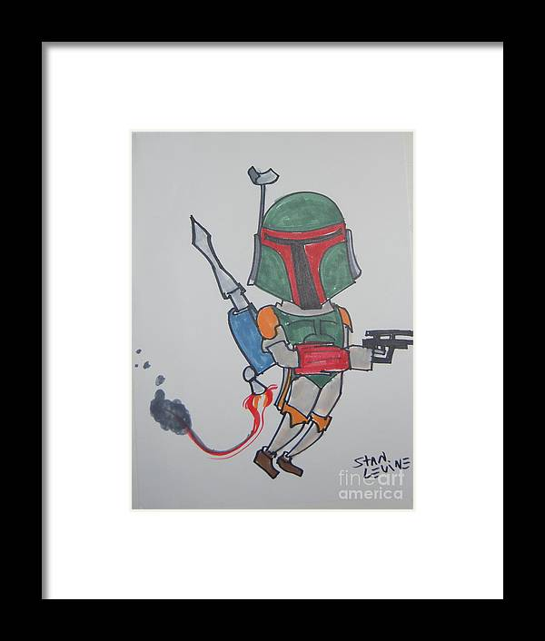 Caricature Framed Print featuring the drawing Boba Fett Caricature by Stan Levine