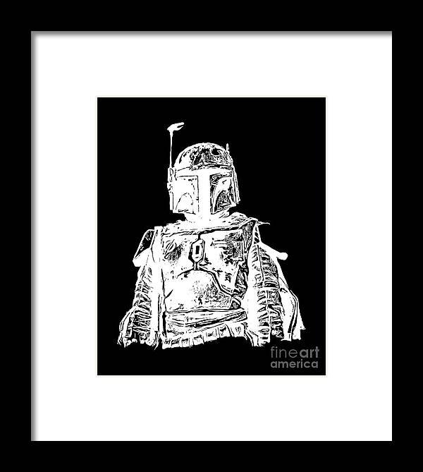 Star Wars Framed Print featuring the digital art Boba Fett Tee by Edward Fielding