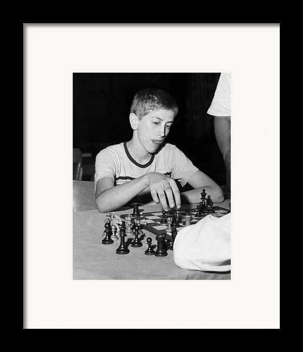 1950s Portraits Framed Print featuring the photograph Bobby Fischer, Circa 1957 by Everett