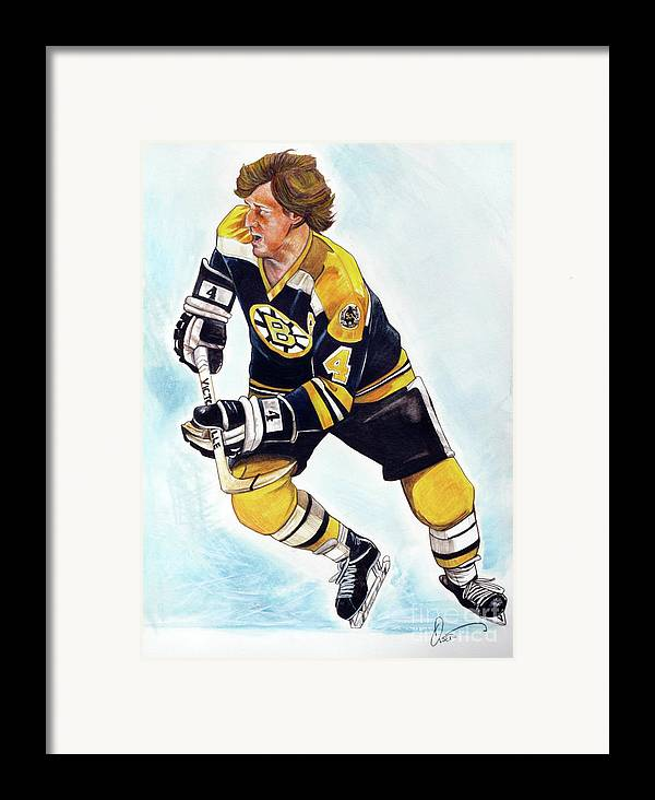 Bobby Orr Framed Print featuring the painting Bobby Orr by Dave Olsen