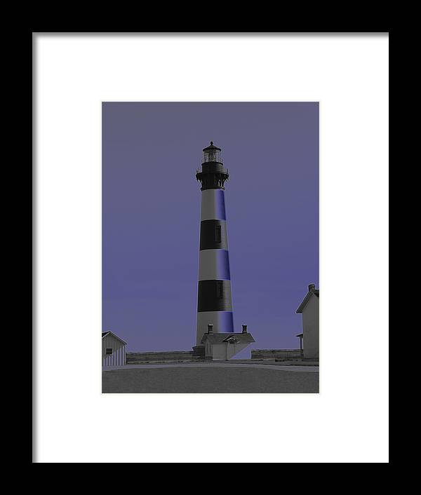 Lighthouse Framed Print featuring the digital art Bodie Glow by Tina B Hamilton