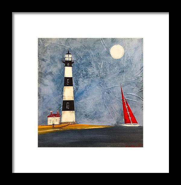 Lighthouse Art Framed Print featuring the painting Bodie Island Lighthouse by Barry Knauff