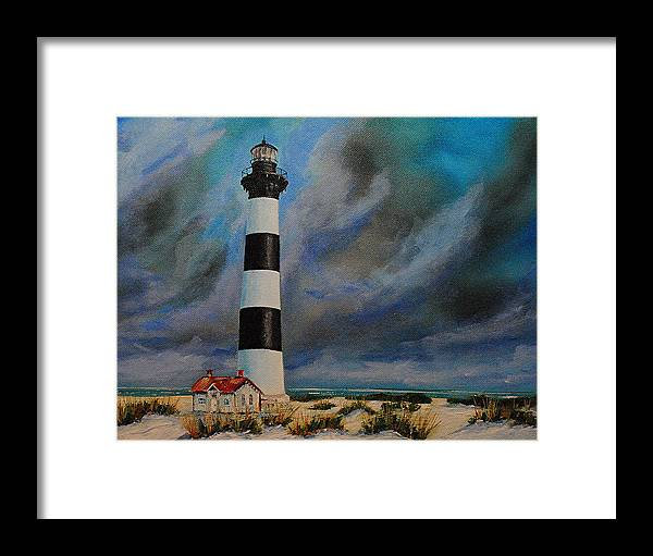 Seascape Framed Print featuring the painting Bodie Island Lighthouse by Ned Stacey