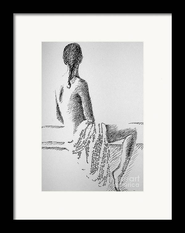 Language Framed Print featuring the drawing Body Language by Tanni Koens