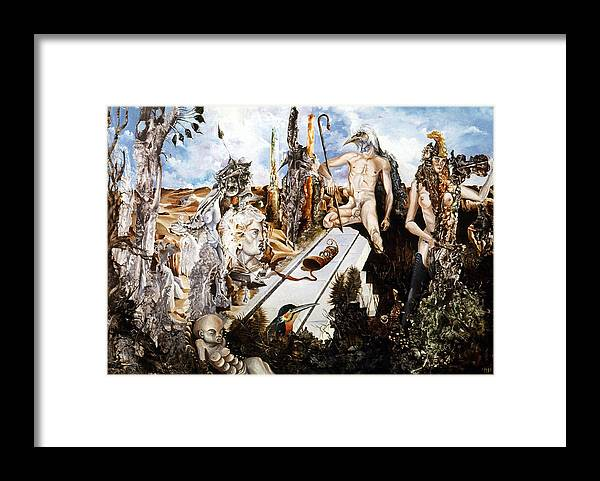 Surrealism Framed Print featuring the painting Bogomils Court by Otto Rapp