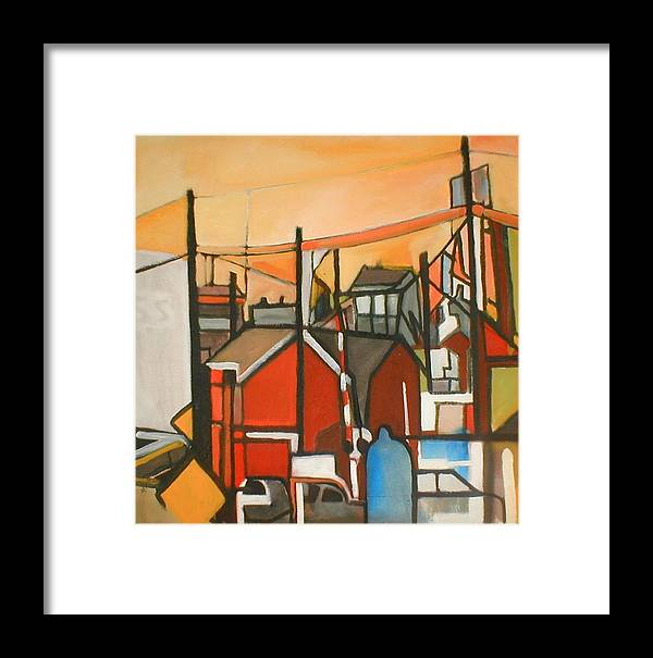 Suburban Framed Print featuring the painting Bogota Industrial by Ron Erickson