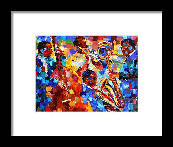 Jazz Framed Print featuring the painting Bold Jazz Quartet by Debra Hurd