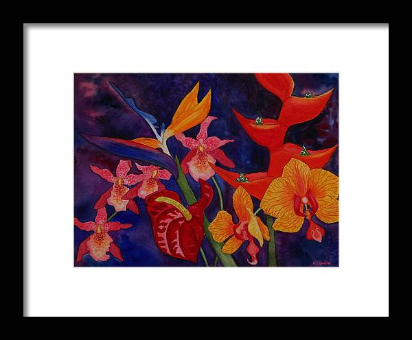 Kerri Ligatich Framed Print featuring the painting Bold Tropical Flowers by Kerri Ligatich