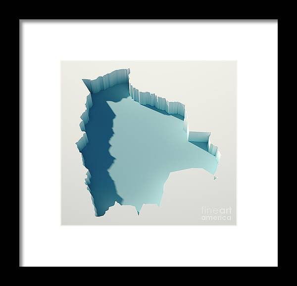 Cartography Framed Print featuring the digital art Bolivia Simple Intrusion Map 3d Render by Frank Ramspott