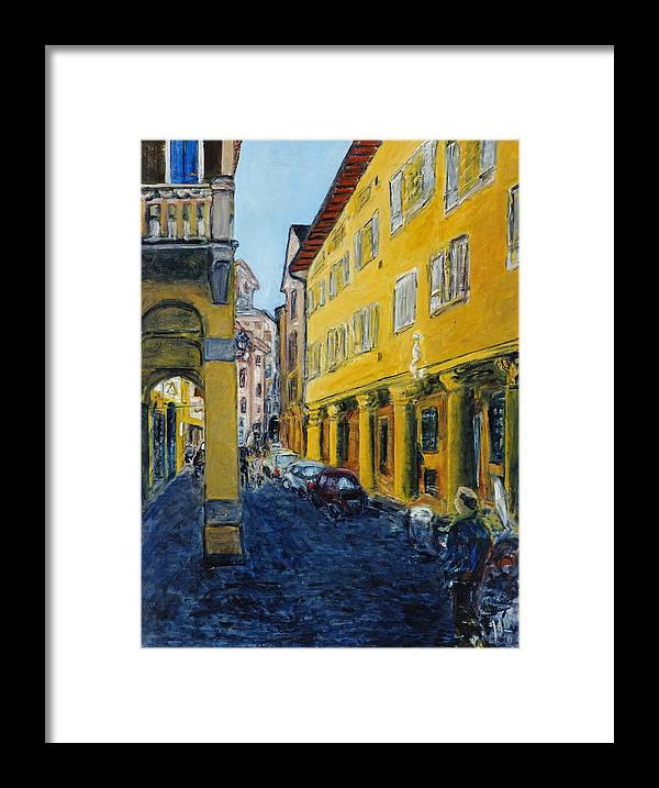 Cityscape Italy Bologna Cars Yellow Houses Man Columns Framed Print featuring the painting Bologna Galeria by Joan De Bot