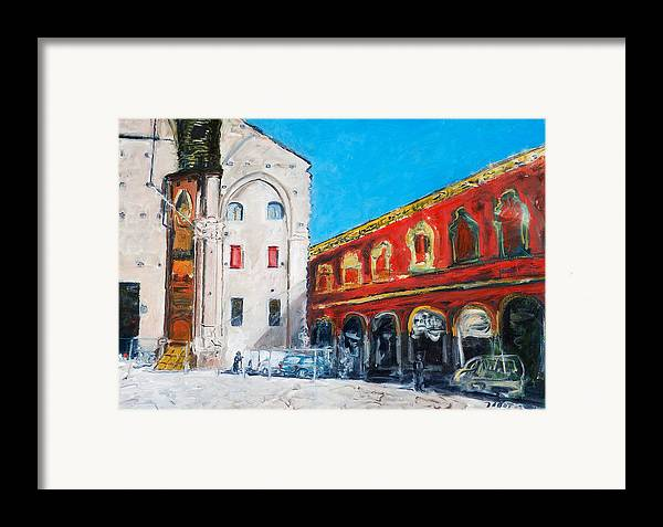 Cityscape Square Church Gallery White Red Blue Sky Framed Print featuring the painting Bologna Plaza by Joan De Bot