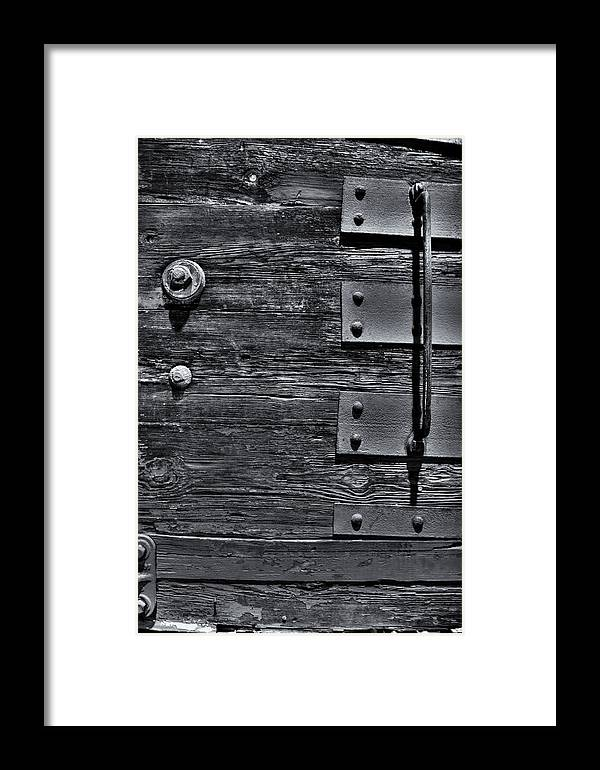 Wood Framed Print featuring the photograph Bolted Wood by Scott Wyatt