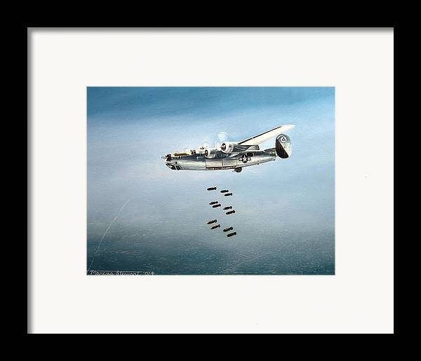 Aviation Framed Print featuring the painting Bombs Away by Marc Stewart