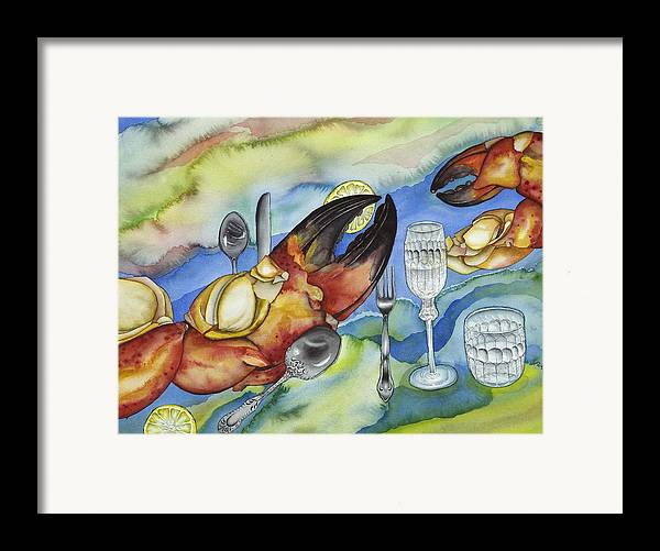 Sea Framed Print featuring the painting Bon Appetit Favorite Food 2 Right Image Diptych by Liduine Bekman