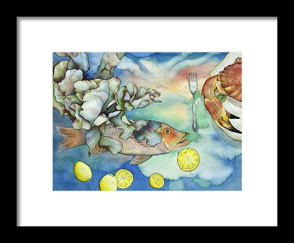 Sealife Framed Print featuring the painting Bon Appetit Together Left Image by Liduine Bekman
