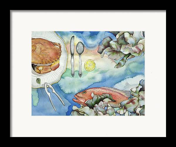 Sea Framed Print featuring the painting Bon Appetit Together Right Image Diptych by Liduine Bekman