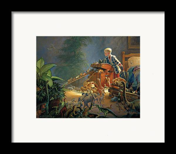 Noah's Ark Framed Print featuring the painting Bon Voyage by Greg Olsen