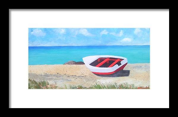 Beach Framed Print featuring the painting Bonaire Boat by Paul O Shaskan