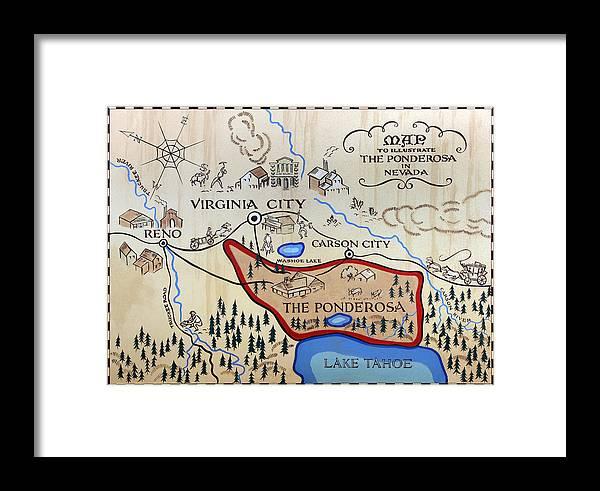 Bonanza Series Ponderosa Map 1959 Framed Print on bonanza ranch nevada map, nevada ponderosa ranch map, idaho craters of the moon map,