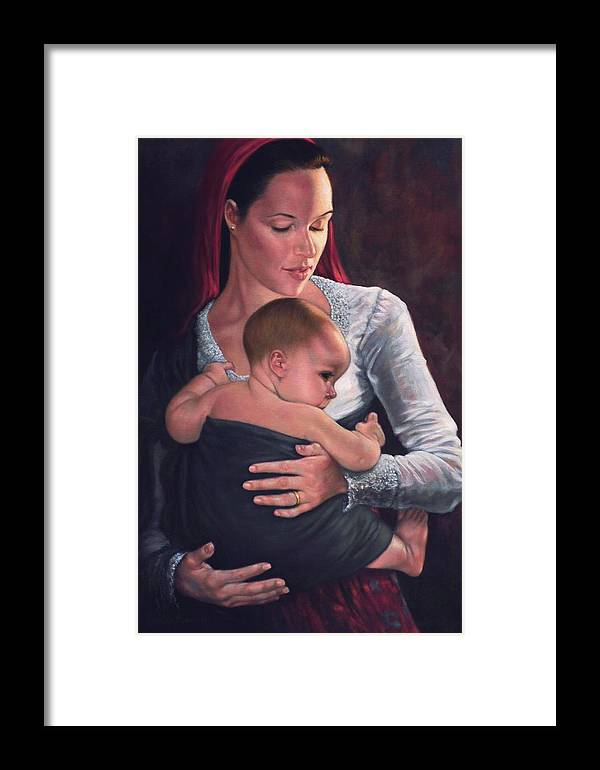 Mother And Child Framed Print featuring the painting Bonding by Harvie Brown