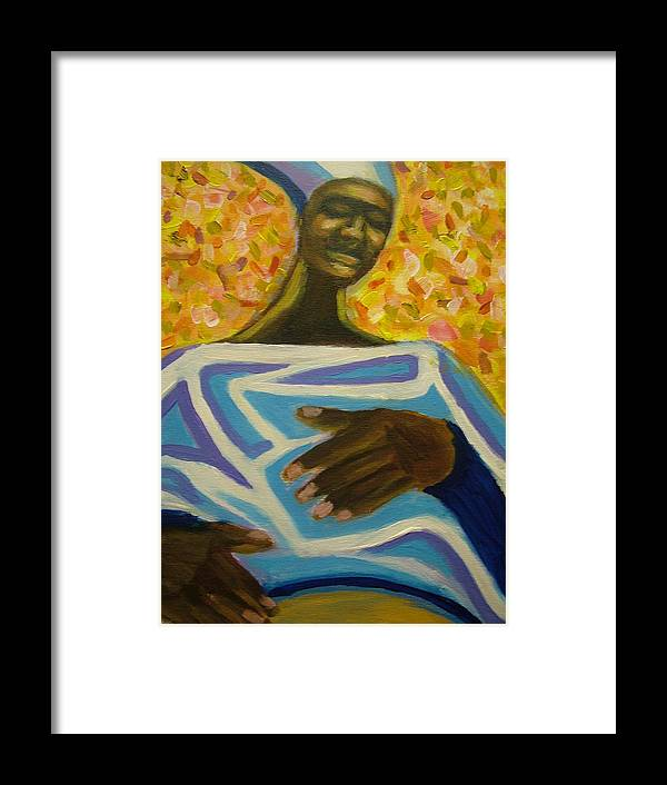 Painting Framed Print featuring the painting Bongo Man II by Jan Gilmore