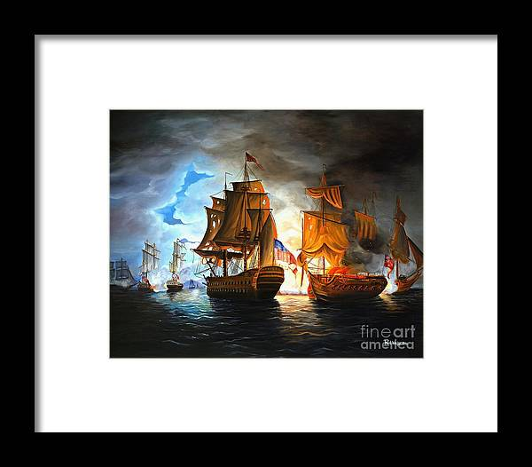 Naval Battle Framed Print featuring the painting Bonhomme Richard Engaging The Serapis In Battle by Paul Walsh