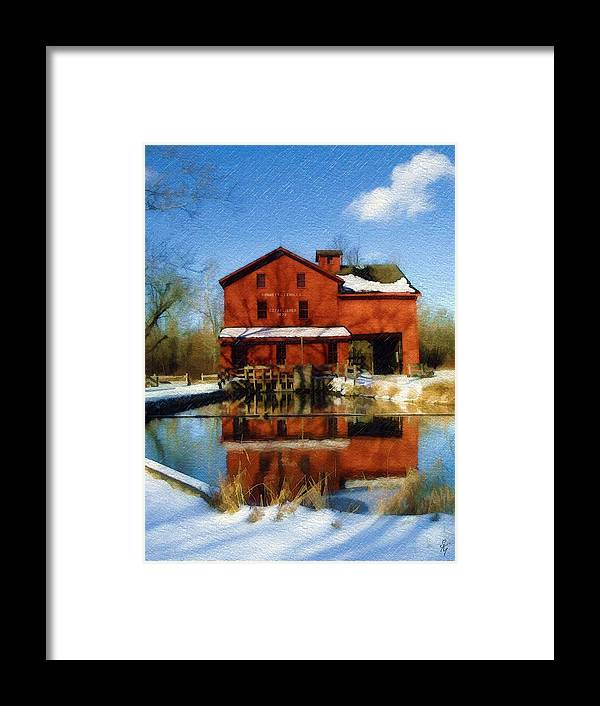 Bonneyville Mill Framed Print featuring the photograph Bonneyville In Winter by Sandy MacGowan