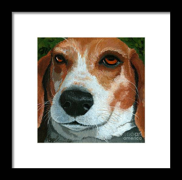 Dog Art Framed Print featuring the painting Bonnie - Beagle Painting by Linda Apple