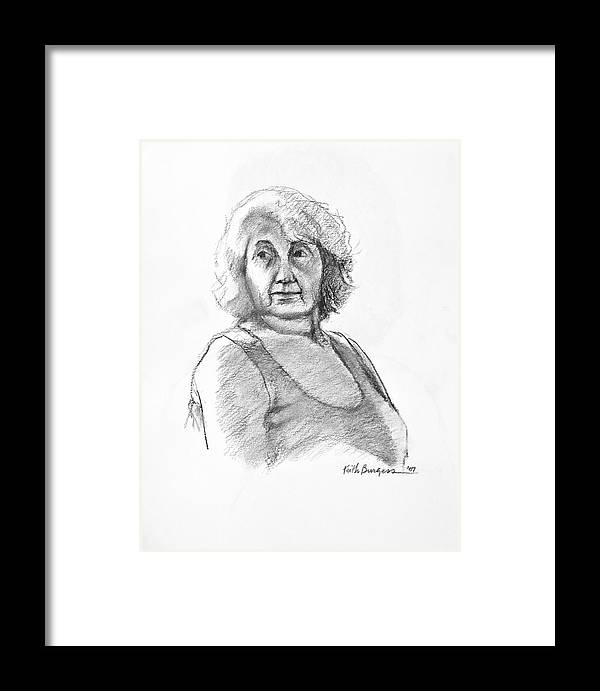Drawing Framed Print featuring the drawing Bonnie by Keith Burgess